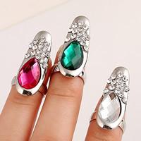 Zink-Legierung Nail -Finger-Ring, Zinklegierung, mit Glas, Tropfen, silberfarben plattiert, facettierte & mit Strass, keine, frei von Nickel, Blei & Kadmium, 30x12mm, Größe:2, verkauft von PC