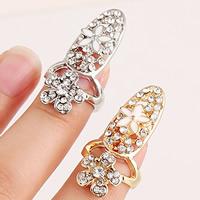 Zink-Legierung Nail -Finger-Ring, Zinklegierung, Blume, plattiert, Emaille & mit Strass, keine, frei von Nickel, Blei & Kadmium, 31x15mm, Größe:2, verkauft von PC