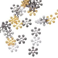 Zinklegierung Zwischenperlen, Schneeflocke, plattiert, keine, frei von Nickel, Blei & Kadmium, 8mm, Bohrung:ca. 1.2mm, 5000PCs/Tasche, verkauft von Tasche