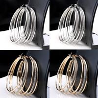 Eisen Kreolen, plattiert, Falten, keine, frei von Nickel, Blei & Kadmium, 60mm, 3PaarePärchen/Tasche, verkauft von Tasche
