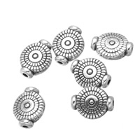 Zinklegierung flache Perlen, flache Runde, antik silberfarben plattiert, frei von Nickel, Blei & Kadmium, 8x10mm, Bohrung:ca. 1.2mm, 200PCs/Menge, verkauft von Menge