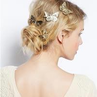 Schnabelspange, Zinklegierung, mit Eisen-clip, Schmetterling, goldfarben plattiert, frei von Nickel, Blei & Kadmium, 30x45mm, 3PCs/Tasche, verkauft von Tasche