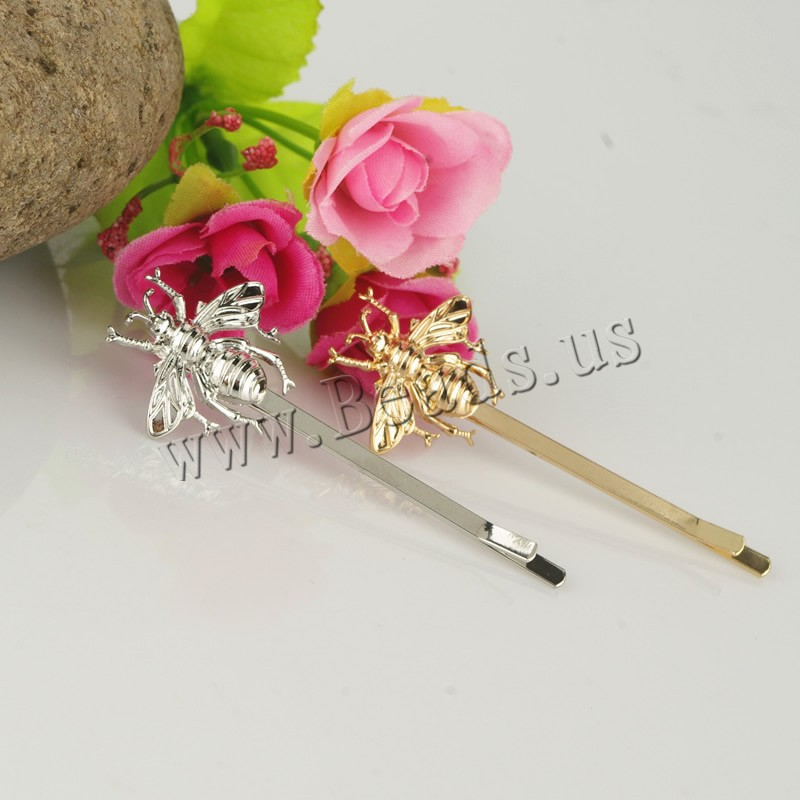 Buy Hair Slide Zinc Alloy iron clip Bee plated colors choice nickel lead & cadmium free 25mm 65mm 3PCs/Bag Sold Bag