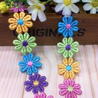 Spitzenbesatz, Polyester, Blume, farbenfroh, 25mm, 100WerftenHof/Menge, verkauft von Menge