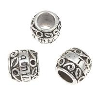 Zinklegierung Europa Beads Einstellung, Trommel, Wort-Familie, antik silberfarben plattiert, ohne troll, frei von Blei & Kadmium, 9x10mm, Bohrung:ca. 5mm, Innendurchmesser:ca. 1mm, ca. 30PCs/Tasche, verkauft von Tasche
