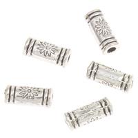 Zinklegierung Rohr Perlen, antik silberfarben plattiert, frei von Blei & Kadmium, 10x4mm, Bohrung:ca. 2mm, ca. 165PCs/Tasche, verkauft von Tasche