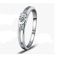 Zirkonia Micro Pave Sterling Silber Ringe, 925 Sterling Silber, Kreisring, platiniert, verschiedene Größen vorhanden & Micro pave Zirkonia & facettierte, 6x4mm, 3PCs/Tasche, verkauft von Tasche