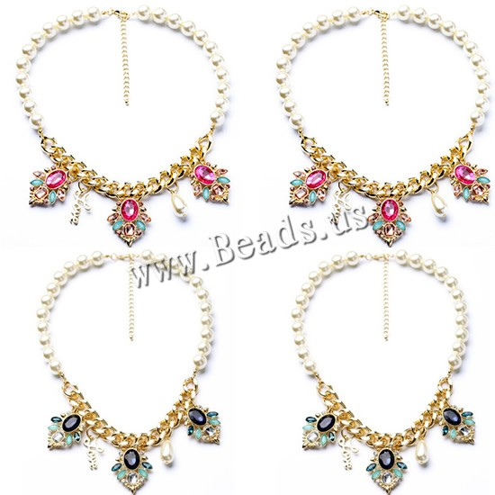 Buy Fashion Statement Necklace Zinc Alloy ABS Plastic Pearl & iron chain & Acrylic 5cm extender chain Flower word love gold color plated twist oval chain & faceted & rhinestone colors choice nickel lead & cadmium free 450mm Sold Per Approx 17.5 Inch Strand