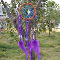 Fashion Dreamcatcher, Eisen, mit Feder & Baumwolle Schnur & Muschel, flache Runde, violett, 111x400mm, 295mm, 2PCs/Tasche, verkauft von Tasche