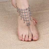 Mode Toe Fußkette, Zinklegierung, mit Eisenkette, mit Verlängerungskettchen von 5cm, antik silberfarben plattiert, frei von Nickel, Blei & Kadmium, 220mm, Länge:ca. 8.5 ZollInch, 3SträngeStrang/Tasche, verkauft von Tasche