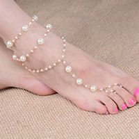 Mode Toe Fußkette, ABS-Kunststoff-Perlen, mit Eisenkette, mit Verlängerungskettchen von 5cm, goldfarben plattiert, 220mm, Länge:ca. 8.5 ZollInch, 3SträngeStrang/Tasche, verkauft von Tasche
