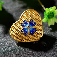 Cloisonne Perlen, Cloisonné, Herz, handgemacht, hohl, 15x18mm, Bohrung:ca. 2-3mm, 15PCs/Tasche, verkauft von Tasche
