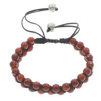 Achat Woven Ball Armbänder, Roter Achat, mit Gewachsten Baumwollkordel, rund, natürlich, einstellbar & facettierte, 6mm, Länge:ca. 6 ZollInch, 10SträngeStrang/Tasche, verkauft von Tasche