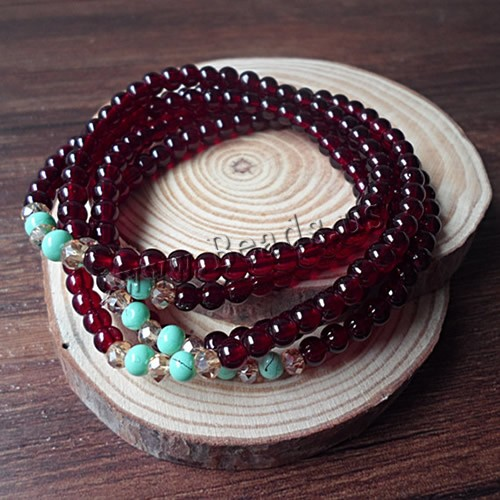 Buy Beads Multilayer Bracelets Garnet Turquoise & Crystal January Birthstone & natural & 5-strand & faceted 3.8mm Sold Per Approx 33-37 Inch Strand