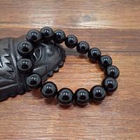 Schwarze Achat Armbänder, Schwarzer Achat, rund, natürliche & verschiedene Größen vorhanden, verkauft per ca. 7.5 ZollInch Strang