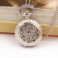Mode Halskette Uhr, Zinklegierung, mit Eisenkette & Glas, Stern, Platinfarbe platiniert, Oval-Kette, frei von Nickel, Blei & Kadmium, 27mm, verkauft per ca. 15.7 ZollInch Strang