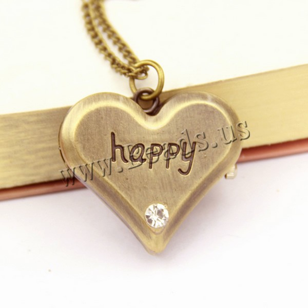 Buy Fashion Watch Necklace Zinc Alloy iron chain & Glass Heart word happy antique bronze color plated twist oval chain & rhinestone nickel lead & cadmium free 36x33x12mm Sold Per Approx 31 Inch Strand