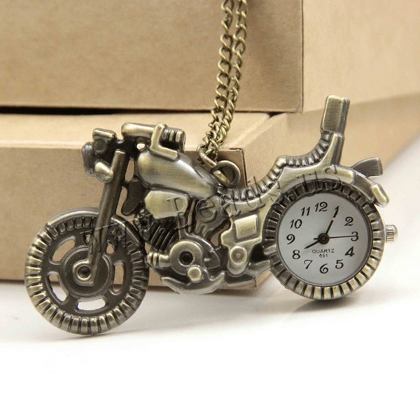 Buy Fashion Watch Necklace Zinc Alloy iron chain & Glass Motorcycle antique bronze color plated twist oval chain nickel lead & cadmium free 35x65x8mm Sold Per Approx 32 Inch Strand