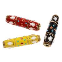 Indonesien Perlen, mit Zinklegierung, Rohr, goldfarben plattiert, mit Strass, keine, 61x16mm, Bohrung:ca. 5mm, 50PCs/Tasche, verkauft von Tasche