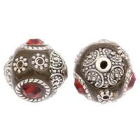 Indonesien Perlen, mit Zinklegierung, rund, antik silberfarben plattiert, mit Strass, 15mm, Bohrung:ca. 1mm, 100PCs/Tasche, verkauft von Tasche