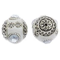 Indonesien Perlen, mit Zinklegierung, rund, antik silberfarben plattiert, mit Strass, 16x18mm, Bohrung:ca. 1mm, 100PCs/Tasche, verkauft von Tasche