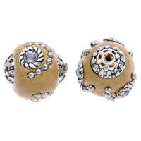 Indonesien Perlen, mit Zinklegierung, rund, antik silberfarben plattiert, mit Strass, 15x14mm, Bohrung:ca. 1mm, 100PCs/Tasche, verkauft von Tasche