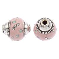 Indonesien Perlen, mit Zinklegierung, oval, antik silberfarben plattiert, mit Strass, 17x14mm, Bohrung:ca. 2mm, 100PCs/Tasche, verkauft von Tasche