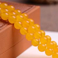 Yellow Chalcedon Perle, rund, natürlich, verschiedene Größen vorhanden, Grade AAAAA, Bohrung:ca. 1mm, verkauft per ca. 15.5 ZollInch Strang