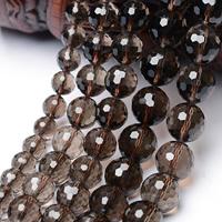 Natürliche Rauchquarz Perlen, rund, 64-Seiten & facettierte, Grade AAAAA, 10mm, Bohrung:ca. 1mm, ca. 35PCs/Strang, verkauft per ca. 13.6 ZollInch Strang