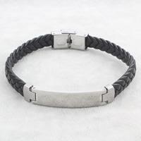 PU Schnur Armbänder, Edelstahl, mit PU Leder, geflochten, schwarz, 11x43x3mm, verkauft per ca. 8.5 ZollInch Strang