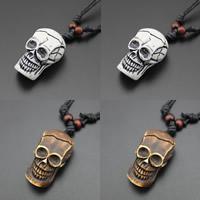 Harz Halskette, mit Gewachsten Baumwollkordel & Holz, Schädel, Imitation Rind Knochen, keine, 23x20x42mm, Länge:ca. 17.5 ZollInch, 3SträngeStrang/Tasche, verkauft von Tasche