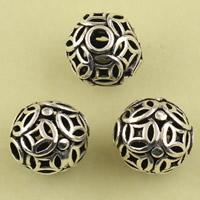 Messing hohle Perlen, rund, antik silberfarben plattiert, frei von Blei & Kadmium, 8.9mm, Bohrung:ca. 1.5mm, 10PCs/Tasche, verkauft von Tasche