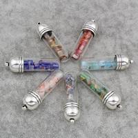 Millefiori Glas Anhänger Schmuck, Zinklegierung, mit Glas & Glas Millefiori, KapselHülse, antik silberfarben plattiert, keine, frei von Blei & Kadmium, 13x48mm, Bohrung:ca. 1.5mm, 3PCs/Tasche, verkauft von Tasche