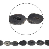 Natürliche Eis Quarz Achat Perlen, Eisquarz Achat, druzy Stil, schwarz, 29x41mm-37x44mm, Bohrung:ca. 1.5-2mm, ca. 8PCs/Strang, verkauft per ca. 15.5 ZollInch Strang