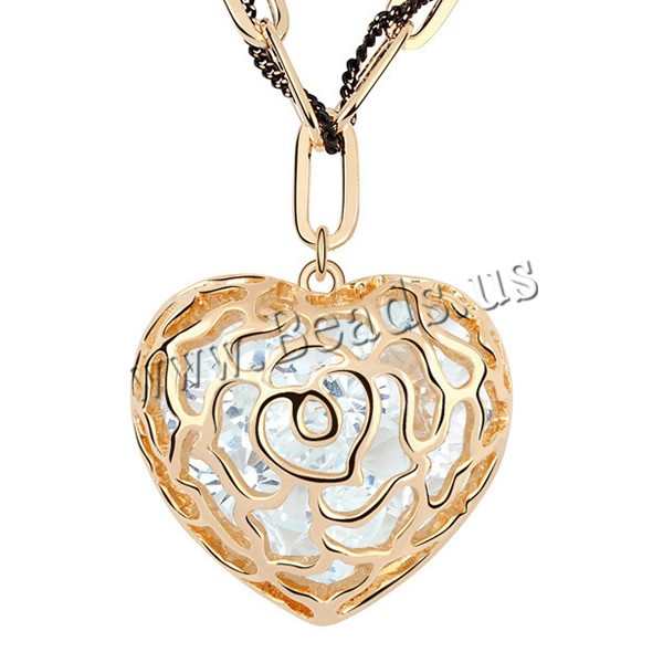 Buy Zinc Alloy Sweater Chain Necklace iron chain & Nylon Cord 5cm extender chain Heart gold color plated painted lead & cadmium free 32x31mm Sold Per Approx 23-26 Inch Strand