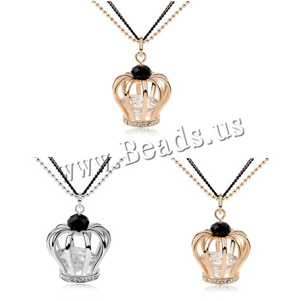 Buy Zinc Alloy Sweater Chain Necklace iron chain & Cubic Zirconia & Crystal 5cm extender chain Crown plated painted & faceted & hollow colors choice lead & cadmium free 24x32mm Sold Per Approx 23-26 Inch Strand