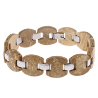 Kokosrinde Armband, mit Edelstahl, 15x4mm, verkauft per ca. 8 ZollInch Strang