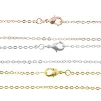 Messingkette Halskette, Messing, plattiert, Oval-Kette, keine, frei von Nickel, Blei & Kadmium, 1.50x0.20mm, Länge:ca. 17.5 ZollInch, 50SträngeStrang/Tasche, verkauft von Tasche