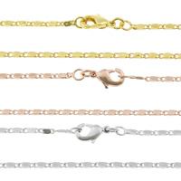 Messingkette Halskette, Messing, plattiert, Valentino-Kette, keine, frei von Nickel, Blei & Kadmium, 4.50x1.50x1mm, Länge:ca. 17 ZollInch, 50SträngeStrang/Tasche, verkauft von Tasche