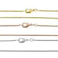 Messingkette Halskette, Messing, plattiert, Schlangekette, keine, frei von Nickel, Blei & Kadmium, 1mm, Länge:ca. 17 ZollInch, 50SträngeStrang/Tasche, verkauft von Tasche
