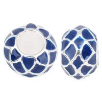 Zink Legierung Europa Perlen, Zinklegierung, mit Emaille, Rondell, ohne troll & Emaille, blau, frei von Nickel, Blei & Kadmium, 11x8mm, Bohrung:ca. 5mm, 10PCs/Tasche, verkauft von Tasche
