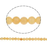 gelbe Jade Perle, rund, synthetisch, verschiedene Größen vorhanden, Bohrung:ca. 1mm, verkauft per ca. 13.5 ZollInch Strang