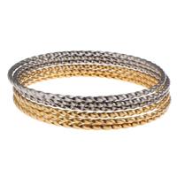 Edelstahl -Armband -Set, Kreisring, plattiert, zweifarbig, 74x2mm, Innendurchmesser:ca. 69mm, Länge:ca. 8.5 ZollInch, 6PCs/setzen, verkauft von setzen
