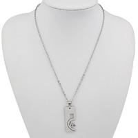 Edelstahl Schmuck Halskette, Rechteck, Oval-Kette & mit Strass, originale Farbe, 14x35x2mm, Länge:ca. 16.5 ZollInch, verkauft von Paar