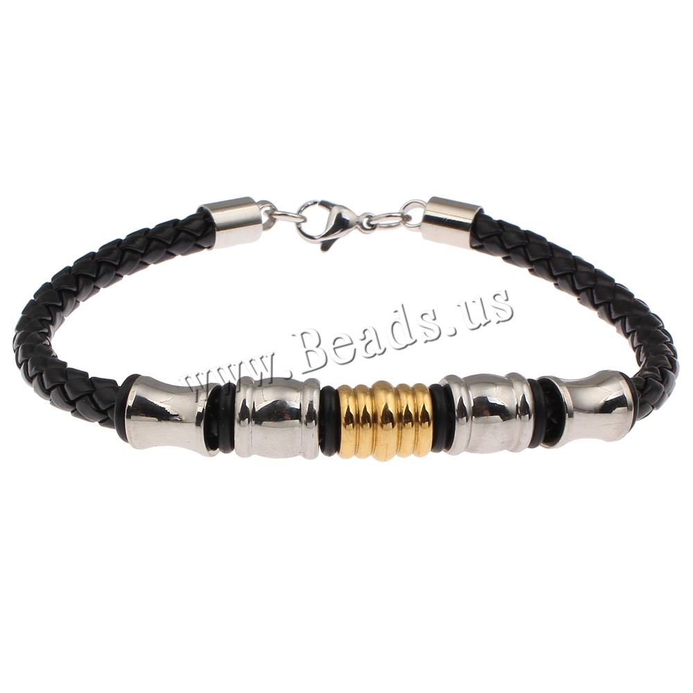 Buy PU Leather Cord Bracelets Stainless Steel PU Leather & Silicone plated two tone 11x9mm Sold Per Approx 9.5 Inch Strand