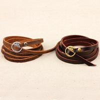Rindsleder Armband, Kuhhaut, mit Zinklegierung, plattiert, verschiedene Stile für Wahl & 5-litzig, 6mm, Länge:ca. 38 ZollInch