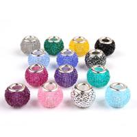 European Harz Perlen, Rondell, Messing-Dual-Core ohne troll, gemischte Farben, 9x12mm, Bohrung:ca. 5mm, 100PCs/Tasche, verkauft von Tasche