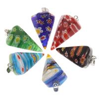 Millefiori Glas Anhänger Schmuck, Glas Millefiori, mit Eisen Stiftöse, Spike, Platinfarbe platiniert, keine, 16x27mm, Bohrung:ca. 3x6mm, 5PCs/Tasche, verkauft von Tasche