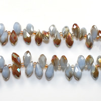 Tropfen Kristallperlen, Kristall, mit Glas-Rocailles, halb plattiert, facettierte, heller Saphir, 6x12mm, Bohrung:ca. 0.5mm, Länge:ca. 15 ZollInch, 10SträngeStrang/Menge, ca. 100PCs/Strang, verkauft von Menge