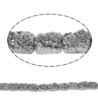 Druzy Beads, Eisquarz Achat, Rechteck, natürlich, druzy Stil, Silberfarbe, 20x15x9mm, Bohrung:ca. 1mm, 10PCs/Strang, verkauft per ca. 7.5 ZollInch Strang
